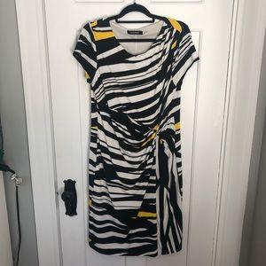 Ellen Tracy Jersey B+W Twist Front Work Dress